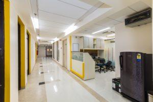 Wide corridor at Upasani Super Speciality Hospital in Mumbai.
